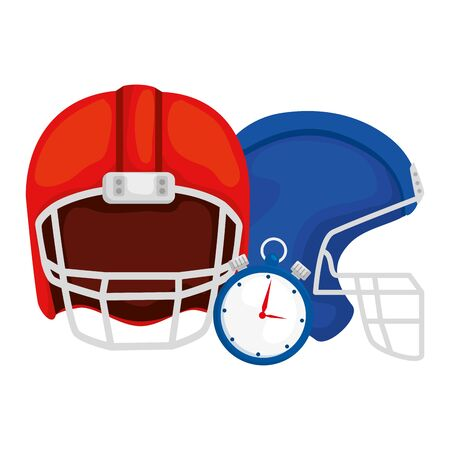 american football helmets with chronometer vector illustration design
