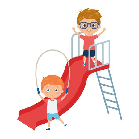 cute little boys with slide and rope jump vector illustration design