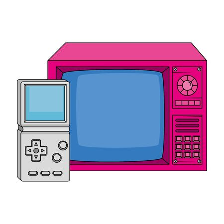 tv with video game handle nineties style vector illustration design