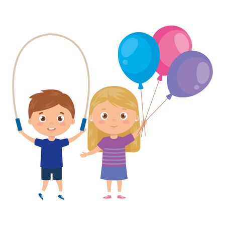 cute little children with jump rope and balloons helium vector illustration design