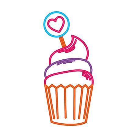 cupcake in neon light on white background vector illustration design