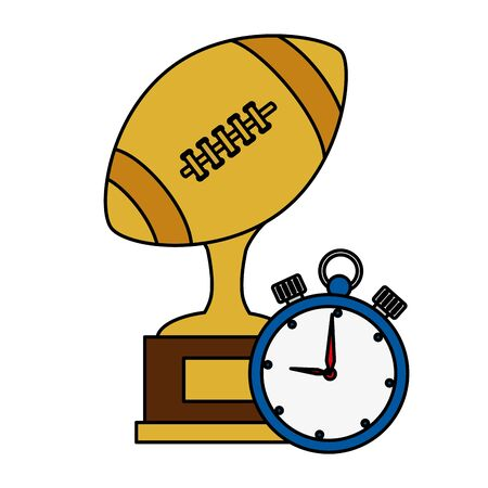 ball american football trophy with chronometer vector illustration design