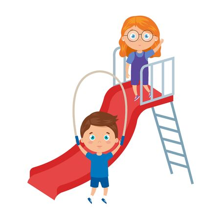 cute little children playing slide and rope jump vector illustration design Ilustrace