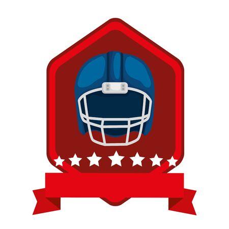 emblem with american football helmet isolated icon vector illustration design Ilustración de vector