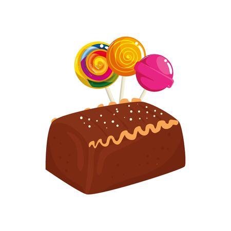 delicious cake chocolate with lollipops isolated icon vector illustration design  イラスト・ベクター素材