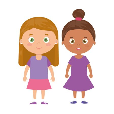 cute little girls avatar character vector illustration design
