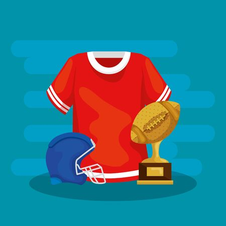 trophy with helmet and shirt of american football vector illustration design 일러스트