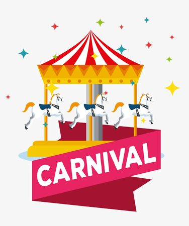 carnival with merry go round and ribbon decoration vector illustration