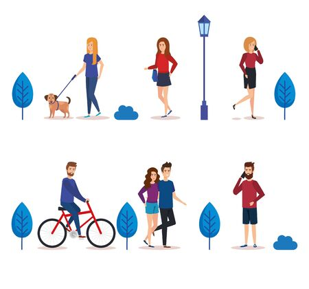 young people in the park characters vector illustration design 일러스트