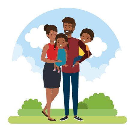 happy woman and man with their son and daughter with bushes vector illustration Banco de Imagens - 139709267