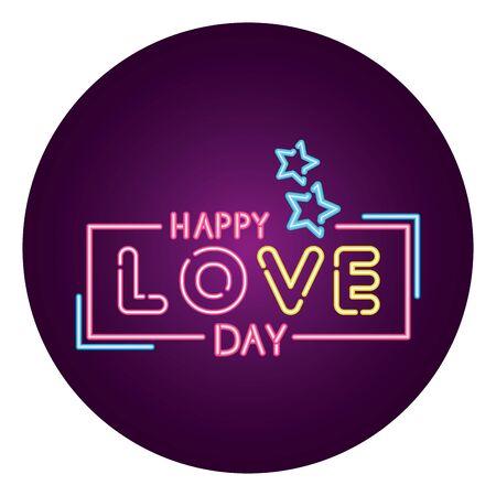 love happy day lettering with stars in frame circular vector illustration design Standard-Bild - 139708849