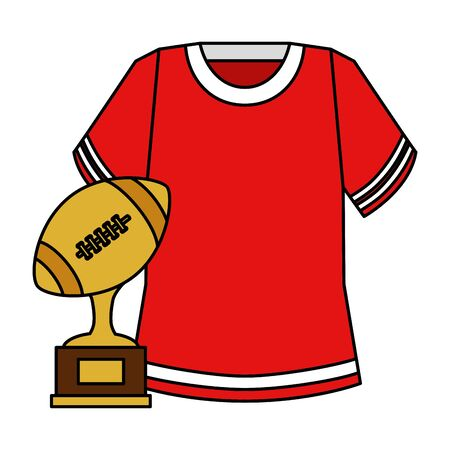trophy and american football shirt vector illustration design