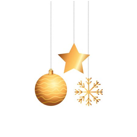 ball with star and snowflake christmas hanging vector illustration design