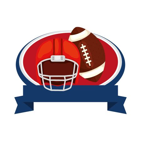 helmet and ball american football with ribbon isolated icon vector illustration design