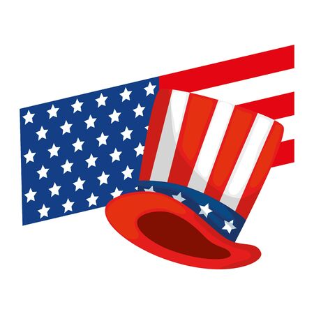 Usa hat and flag design, United states america independence presidents day nation us country and national theme Vector illustration