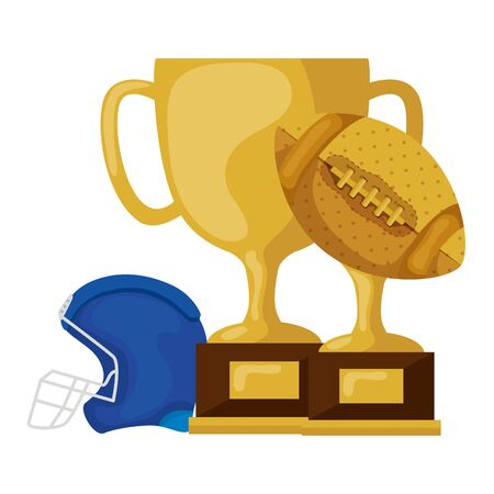 trophies and american football helmet isolated icon vector illustration design