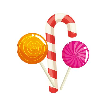 set of sweet lollipop with candy cane vector illustration design Zdjęcie Seryjne - 139718113