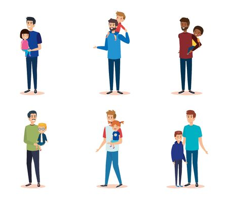set men with their daughters and sons together vector illustration