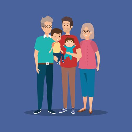 family together with grandparents and kids with their father vector illustration Banco de Imagens - 139718148