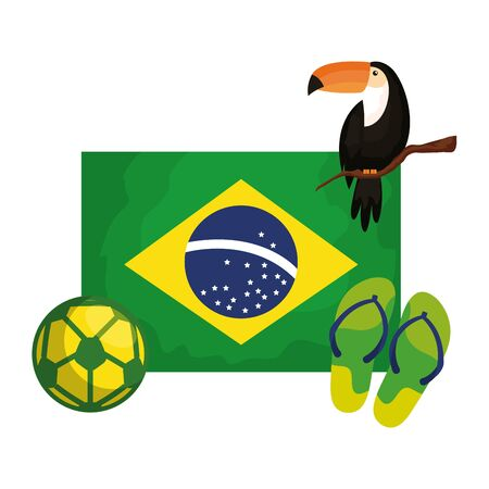 toucan and icons with flag brazil vector illustration design Illustration