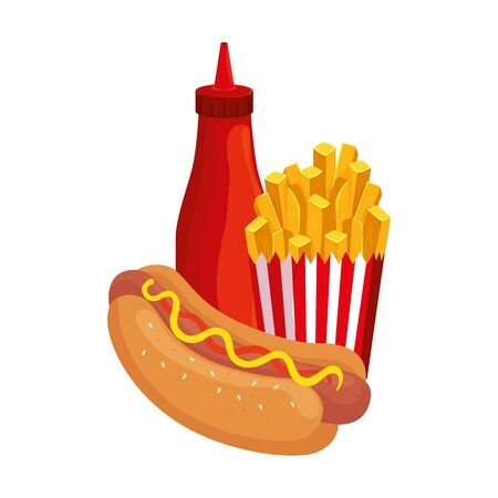 delicious hot dog with french fries and bottle sauce fast food icon vector illustration design
