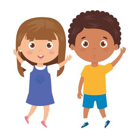 children standing on white background vector illustration design 免版税图像 - 139727359