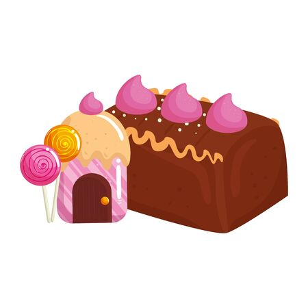 cupcake house delicious with lollipops and cake chocolate vector illustration design