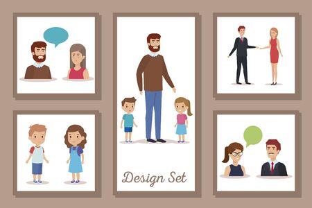 bundle of designs teachers with students vector illustration design Vectores