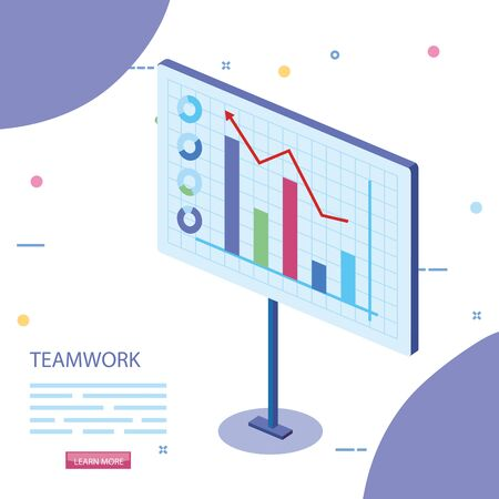 teamwork scene with statistics graphics vector illustration design