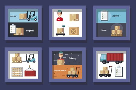 bundle designs of logistic service and icons vector illustration design Ilustracja