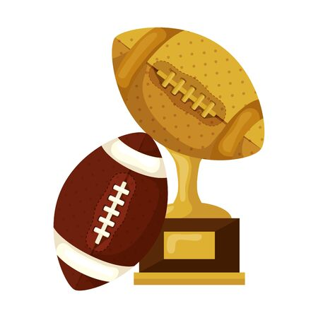 trophy with ball american football isolated icon vector illustration design 일러스트