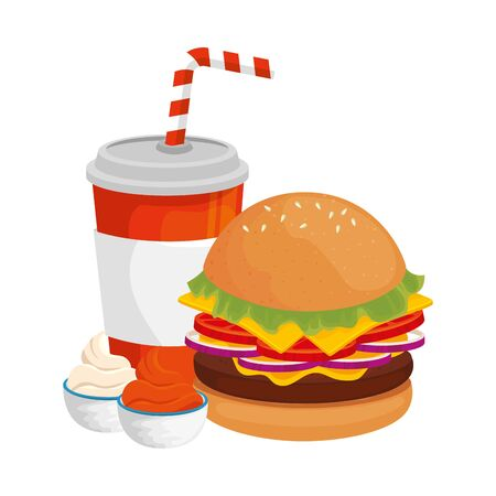 delicious burger with drink fast food icon vector illustration design