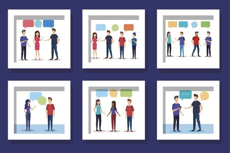 bundle with set designs of young people talking vector illustration design 免版税图像 - 139727439