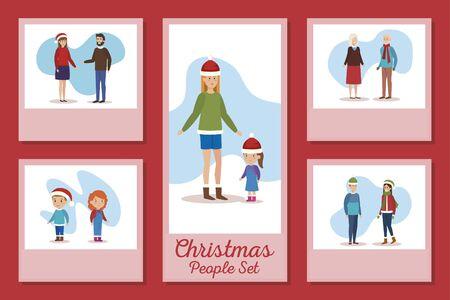 designs of christmas people set vector illustration design 免版税图像 - 139727447