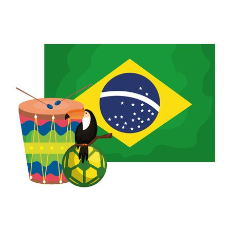toucan and icons with flag brazil vector illustration design 일러스트