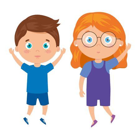 children standing on white background vector illustration design