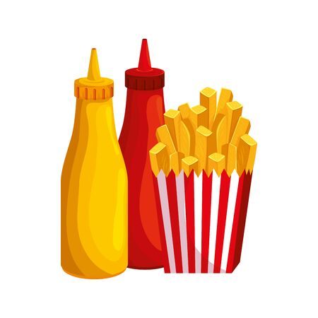 delicious french fries with bottles sauces fast food icon vector illustration design 일러스트