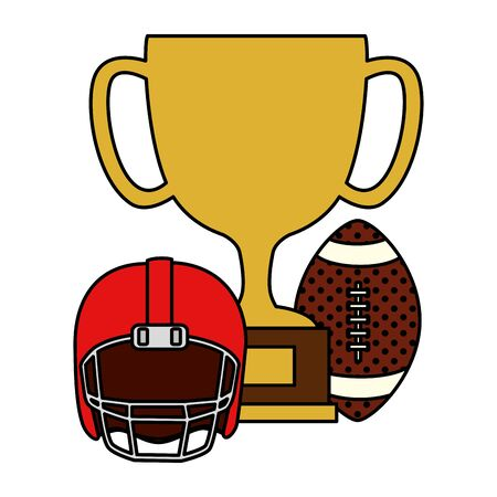 cup trophy with ball and helmet american football vector illustration design 일러스트
