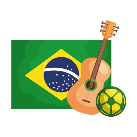 guitar and ball soccer with flag brazil isolated icon vector illustration design