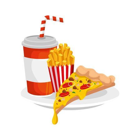 delicious italian pizza with drink fast food icon vector illustration design