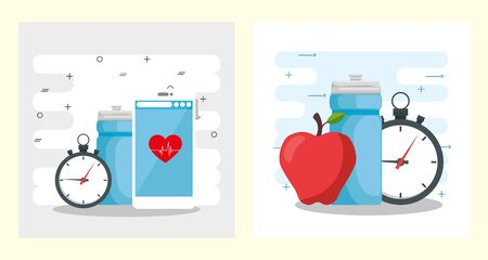 Healthy lifestyle design, Fitness gym bodybuilding bodycare activity exercise and diet theme Vector illustration 일러스트