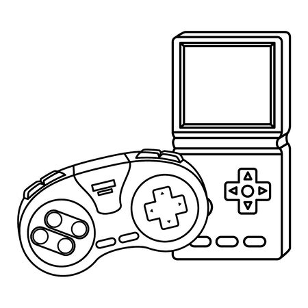 control game with video game handle nineties style vector illustration design
