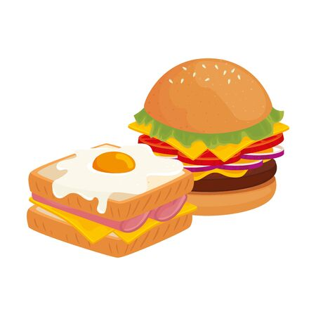 delicious burger with sandwich fast food icon vector illustration design 일러스트