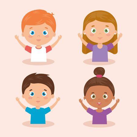 group of cute little children avatar characters vector illustration design