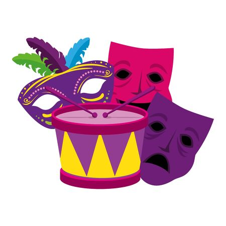 Mardi gras drum and masks design, Party carnival decoration celebration festival holiday fun new orleans and traditional theme Vector illustration Standard-Bild - 139727530