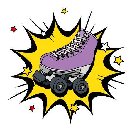 roller skate of nineties in explosion pop art vector illustration design