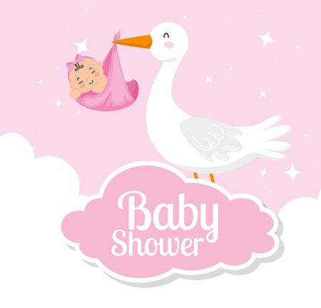 baby shower card with cute stork and decoration vector illustration design Vectores