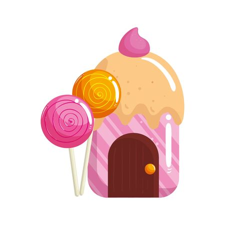 cupcake house delicious with lollipops vector illustration design