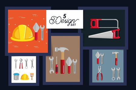 five designs of tools and equipments under construction vector illustration design