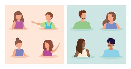 set scenes of young people and cute children vector illustration design